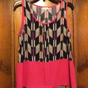 Pixley pink, black and navy print top